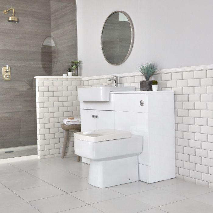Badkamermeubelset met Wastafelmeubel, WC-ombouw en Staand Toilet Wit 117cm | Atticus