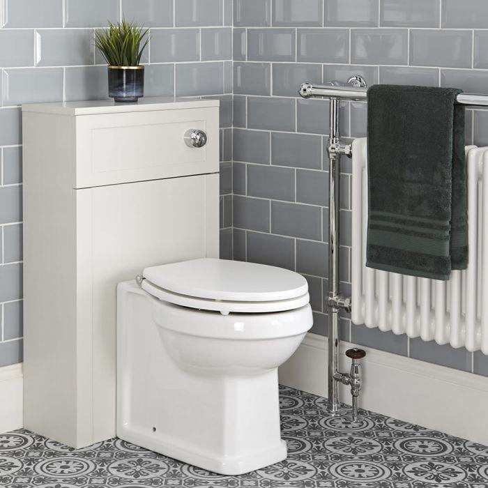 Toilet Staand met WC-bril, Stortbak en Ombouw 50cm Antiek Wit | Thornton
