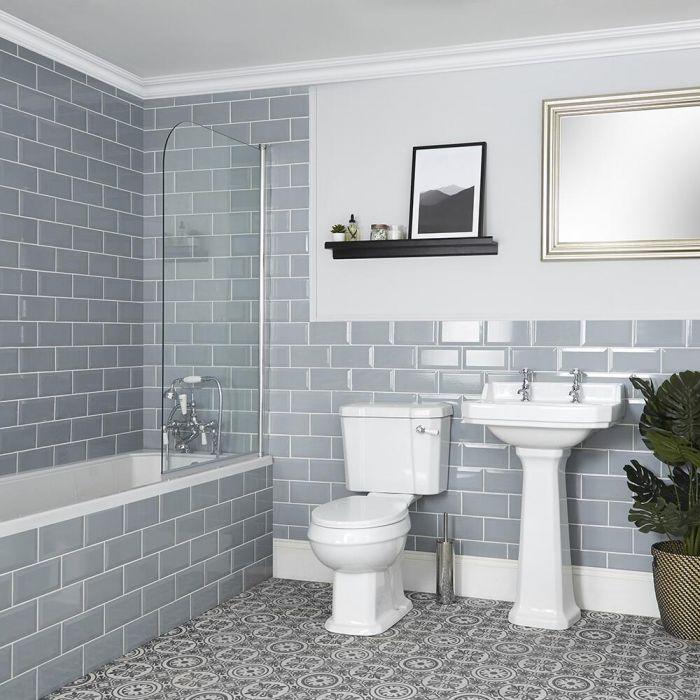 Badkamerset Klassiek -  Bad, Duoblok Toilet en Wastafel met Zuil   Keuze uit 1, 2 of 3 Kraangaten   Richmond