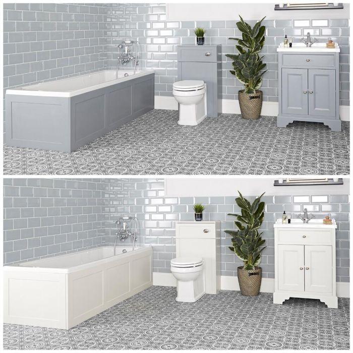 Badkamerset - Bad, Wastafelmeubel 63cm met Wastafel en Staand Toilet met WC-bril, Stortbak en Ombouw   Kies de Afwerking   Thornton