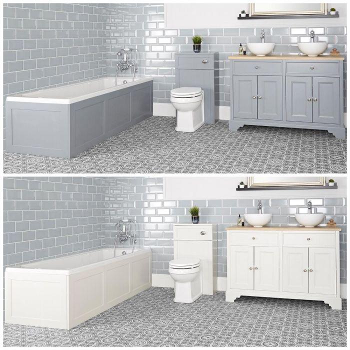 Badkamerset - Bad, Wastafelmeubel 121cm en Staand Toilet met Ombouw | Kies de Afwerking | Thornton