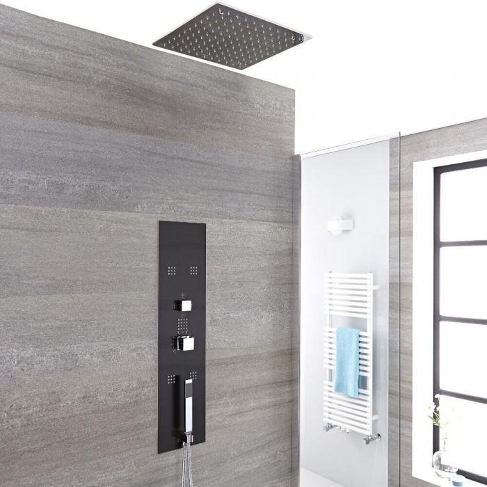 Douchepaneel Inbouw 3-Weg Thermostatisch 2-Delig met Plafond Douchekop, Handdouche en 5 x Zijdouches Donkergrijs en Chroom   Llis