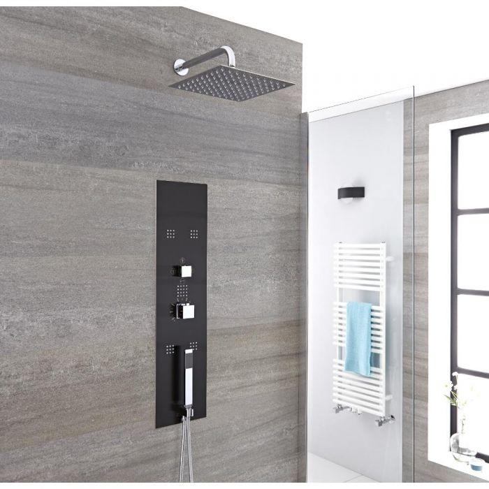 Douchepaneel Inbouw 3-Weg Thermostatisch 2-Delig met Douchekop op Douchearm, Handdouche en 5 x Zijdouches Donkergrijs en Chroom | Llis