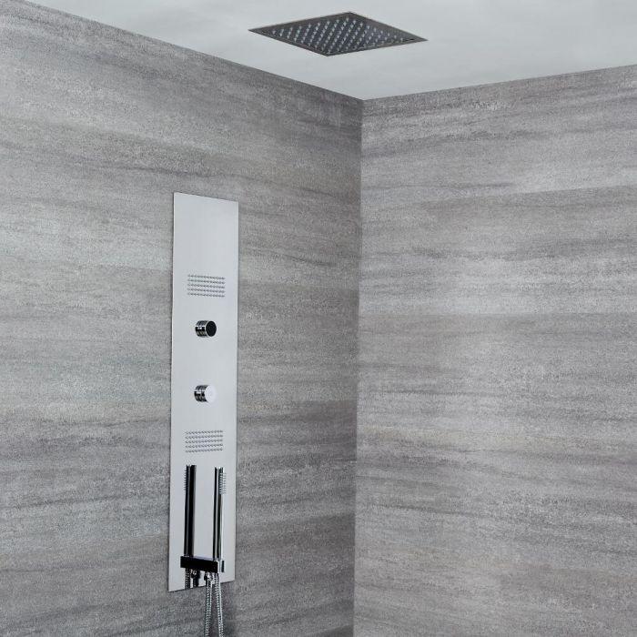 Narus 3-weg Thermostatisch Digitaal Inbouw Douchepaneel & Plafonddouchekop 28 x 28cm