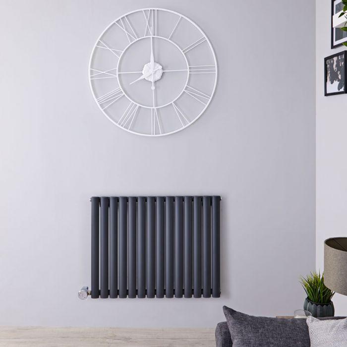 Designradiator Elektrisch Thermostatisch Horizontaal Antraciet 63,5cm x 83,4cm   Revive