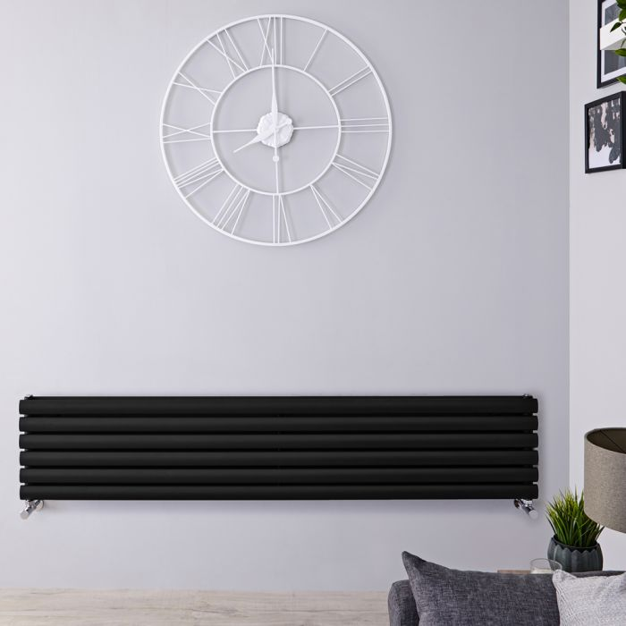 Revive Designradiator Horizontaal Zwart 35,4cm x 160cm x 7,8cm 1101Watt