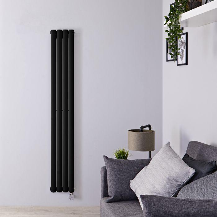 Designradiator Elektrisch Thermostatisch Verticaal Zwart 160cm x 23,6cm | Revive