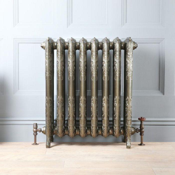 Gietijzeren Radiator Antiek Messing Bloemenmotief |77cm Hoog x Kies de Breedte | Charlotte