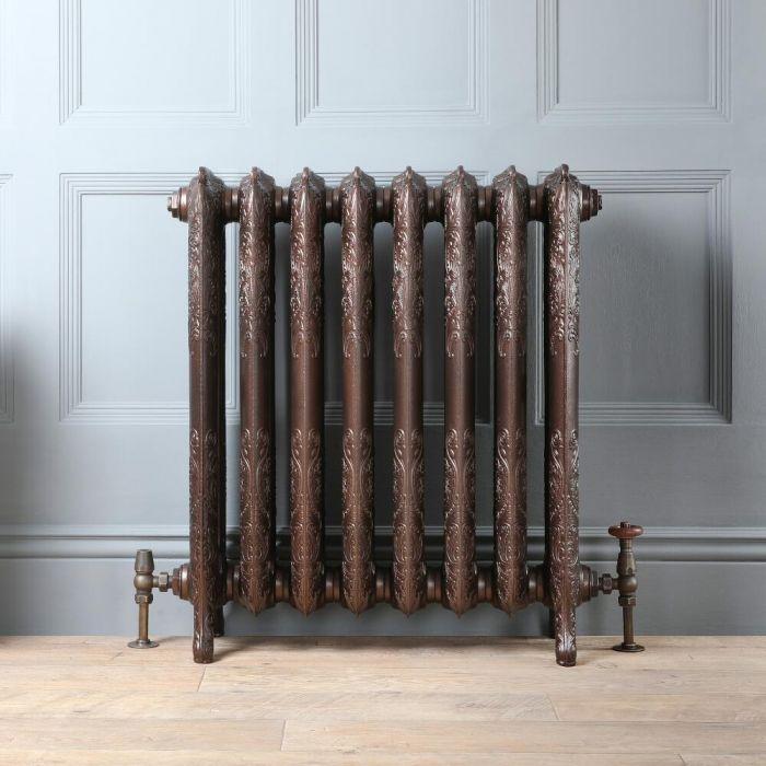 Gietijzeren Radiator Antiek Koper Bloemenmotief 77cm Hoog | Kies de Breedte | Charlotte