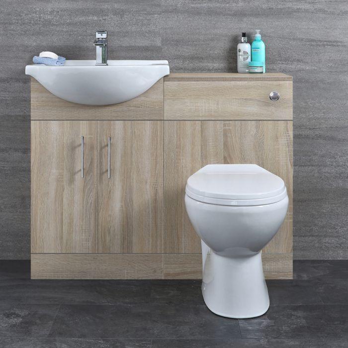 Badkamermeubelset Inclusief KeramischToilet Staand Eiken 104cm | Classic Oak