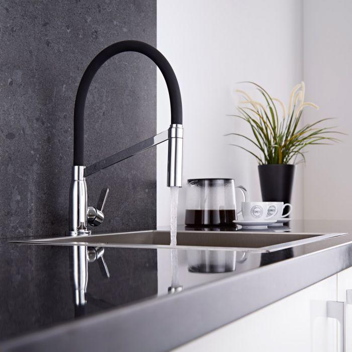 Keukenmengkraan met Uittrekbare Flexibele Uitloop Chroom en Zwart | Select