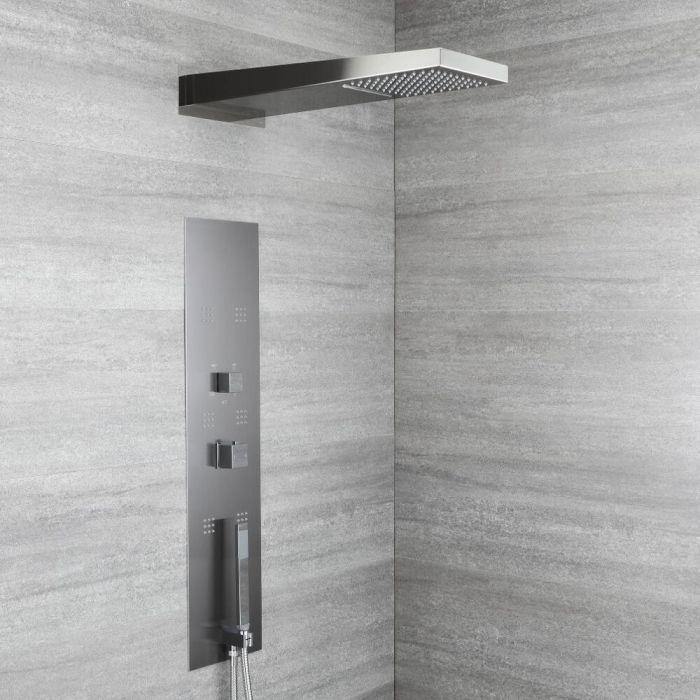 Douchepaneel Inbouw 4-Weg Thermostatisch 2-Delig met Waterval- en Regendouchekop, Handdouche en 6 x Zijdouches Grijs | RyuKyu