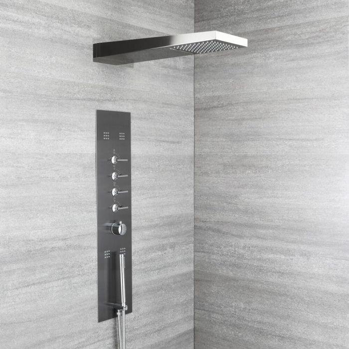 Douchepaneel 2-Delig Inbouw 5-Weg Thermostatisch met Waterval- en Regen- Douchekop, Handdouche en 4 x Zijdouches Gunmetal Grey | Océanie