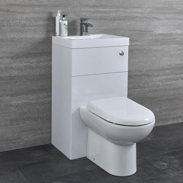 Toilet Staand Keramisch, Stortbak en Ombouw met Geïntegreerde Wastafel Wit   Cluo