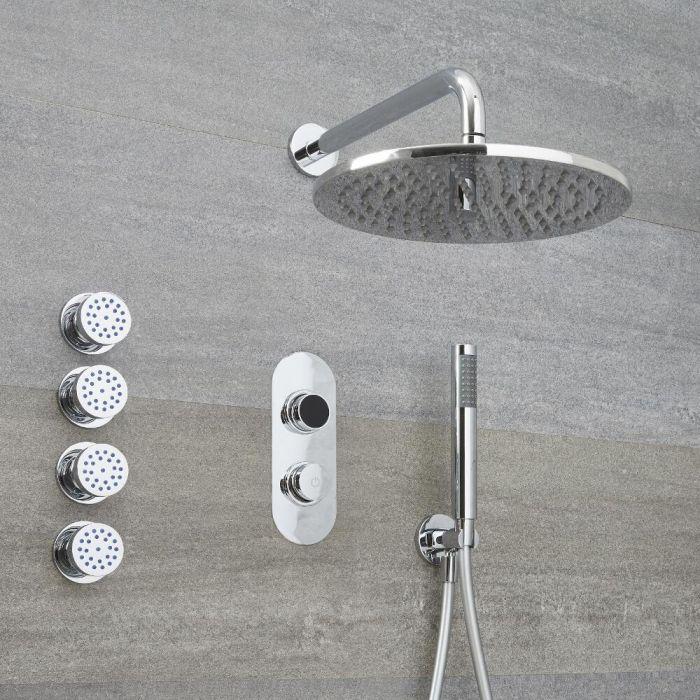 Narus - 3-weg Digitale Thermostaatkraan + d.30cm Douchekop Muurbevestiging + Handdouchecombi & Zijdouches