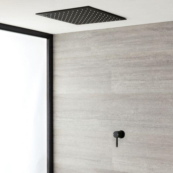 Douchemengkraan 1-weg | Verzonken Plafond Douchekop 40x40cm | RVS Mat Zwart | Nox
