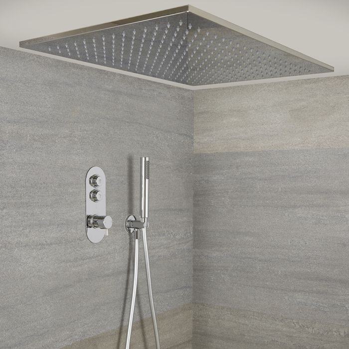 Doucheset - Douchekraan Thermostatisch Inbouw 2-Weg met Grote 80x50cm Hangende Douchekop en Handdouche Chroom   Idro