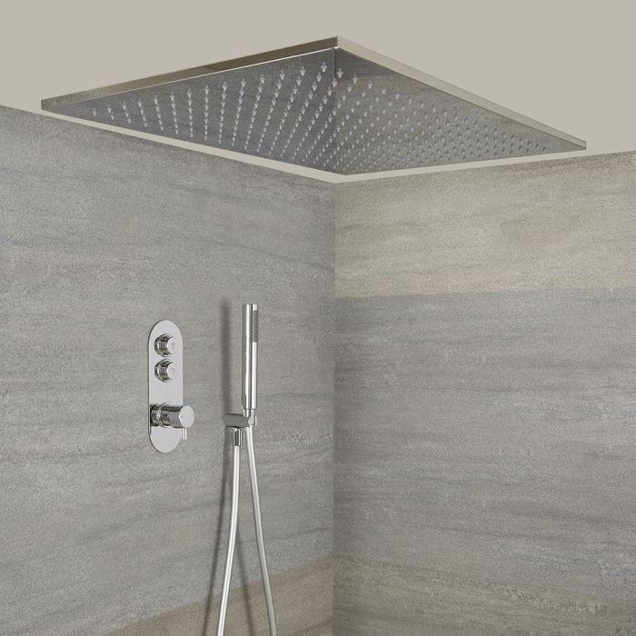 Doucheset - Douchekraan Thermostatisch Inbouw 2-Weg met Grote 80x50cm Hangende Douchekop en Handdouche Chroom | Idro