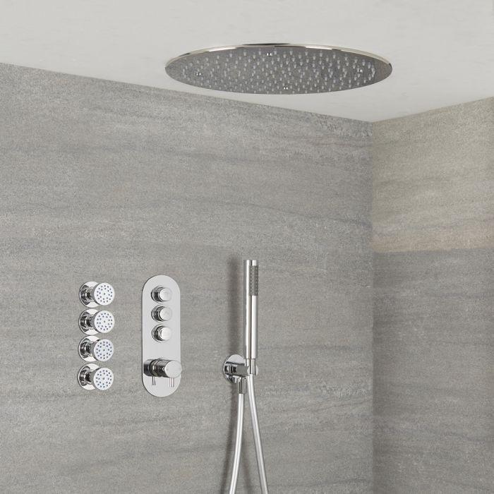 Idro 3-weg Thermostatische Drukknop Douchekraan Handdouchecombi & d.40cm Verzonken Plafond Douchekop & Zijdouches