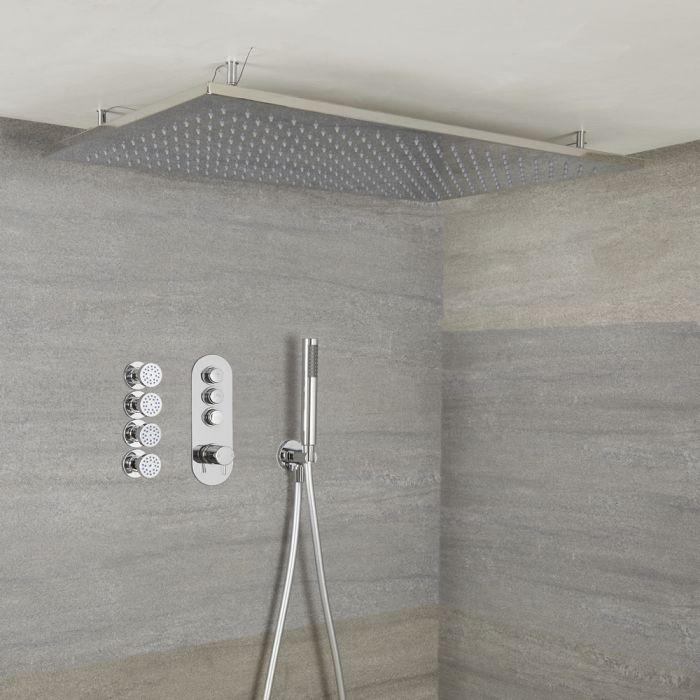 Idro 3-weg Thermostatische Drukknop Douchekraan Handdouchecombi &  80cm Verzonken Plafond Douchekop & Zijdouches
