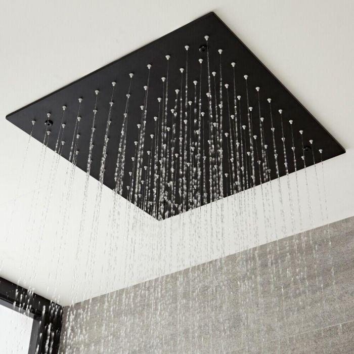 Verzonken Plafond Douchekop RVS Mat Zwart 40 x 40cm | Nox