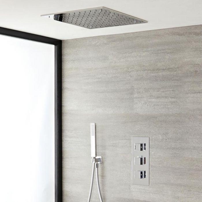 Doucheset - 2-Weg Thermostatische Douchekraan met Verzonken 40x40cm Plafond Douchekop en Handdouche Chroom | Kubix
