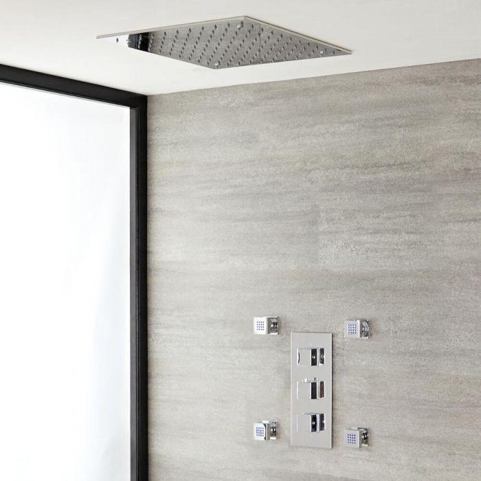 Doucheset 2-Weg Thermostatische Douchekraan met Regendouchekop 40cm & Zijdouches - Modern | Kubix