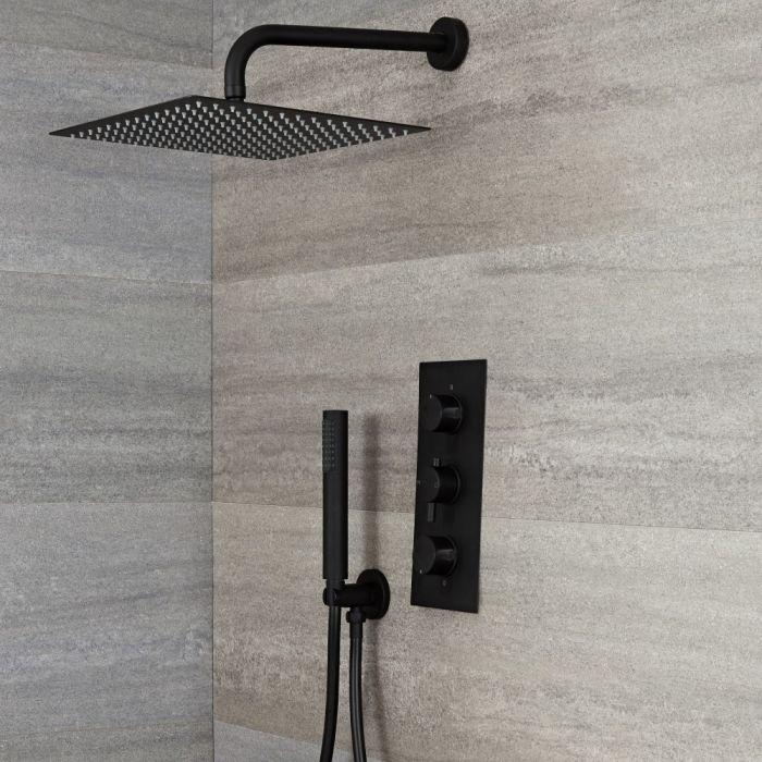 Doucheset - 2-Weg Thermostatische Douchekraan met Vierkante Douchekop en Handdouche Zwart | Nox