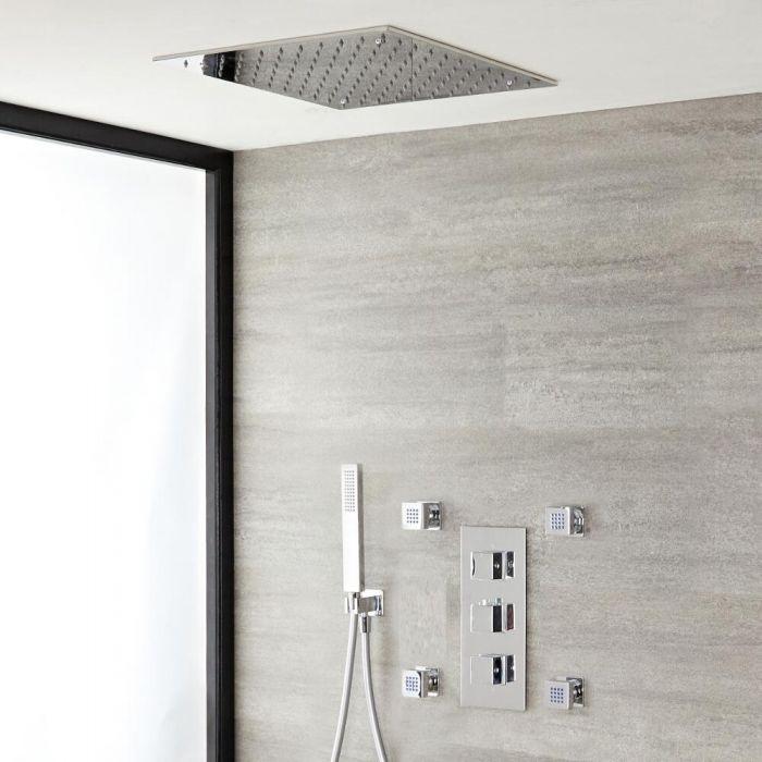 Doucheset - 3-Weg Thermostatische Douchekraan met Omstel, Plafond Douchekop, Handdouche, Zijdouches Chroom | Kubix
