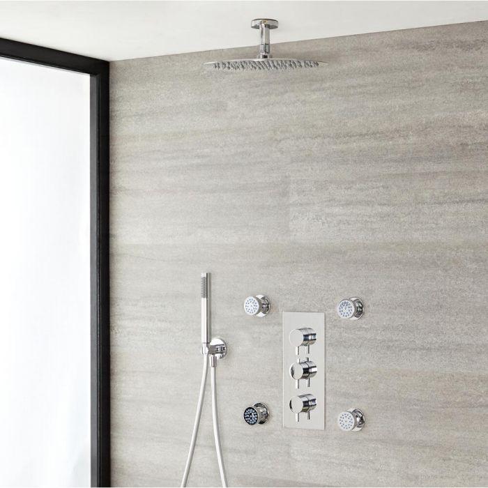 Ronde Thermostatische Douchekraan, 30cm douchekop, plafond bevestiging, handdouche en Zijdouches