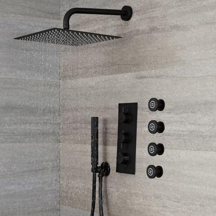 Doucheset - 3-Weg Thermostatische Douchekraan met Omstel, Vierkante Douchekop, Handdouche, en Zijdouches Zwart   Nox