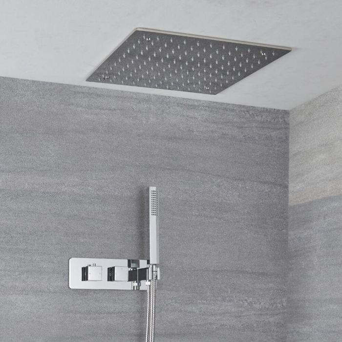 Doucheset 2-Weg Inbouw Themorstatische Douchekraan met Handdouche en Plafond Douchekop 40 x 40cm Chroom | Kubix
