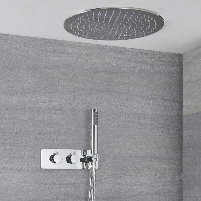 Doucheset - Douchekraan Thermostatisch Inbouw 2-Weg met Omstel en Verzonken 40cm Ronde Plafond Douchekop en Handdouche Chroom | Como