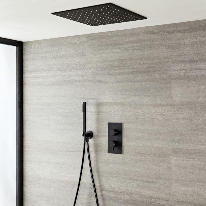 Doucheset - Douchekraan Thermostatisch Inbouw 2-Weg met Omstel met Verzonken 40x40cm Plafond Douchekop en Handdouche Mat Zwart | Nox