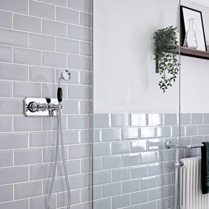 Doucheset Klassiek Inbouw 1-Weg Thermostatisch met Handdouche Chroom en Zwart | Elizabeth