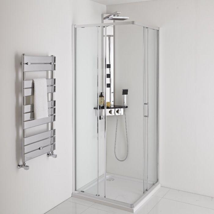 Douchepaneel Hoek 3-Weg Thermostatisch met Douchekop, Handdouche en 3 x Zijdouches Chroom | Alcove