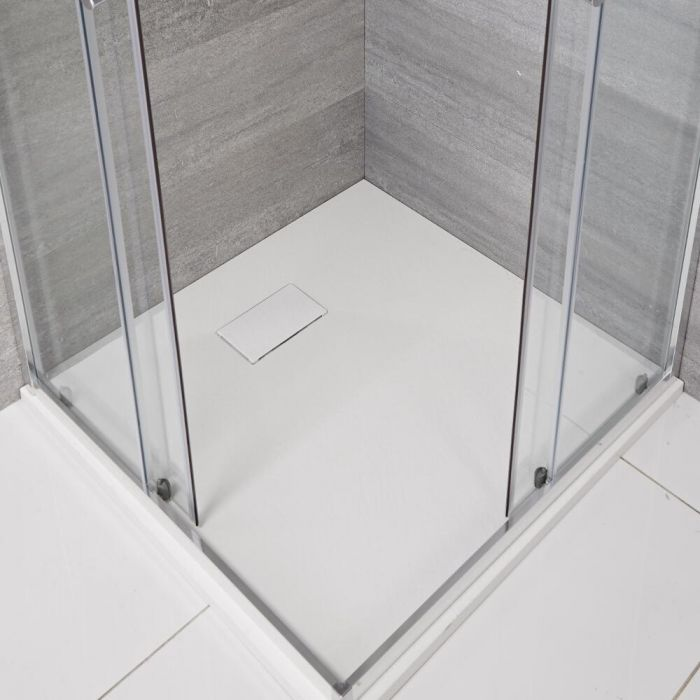 Douchebak Vierkant  Mat Wit Steeneffect 90 x 90cm Rockwell