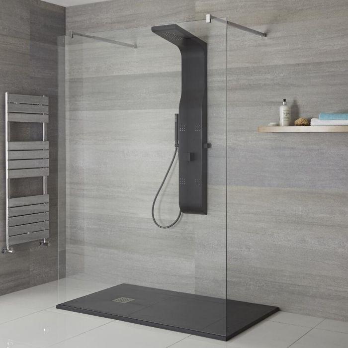 Douchepaneel 3-weg Douchekop Zijdouche Handdouche Zwart | Alston