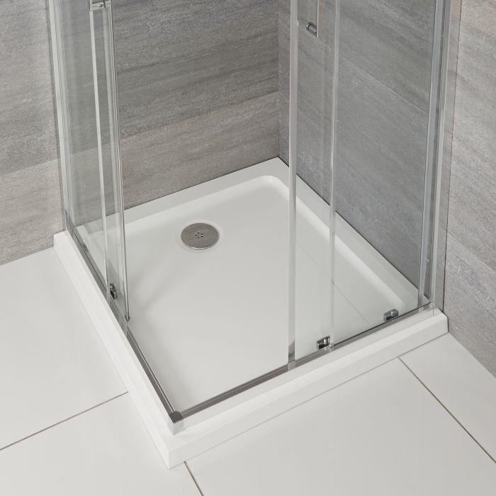 Vierkante Douchebak Wit Afgedekt met Acryl 100 x 100cm | Maxon