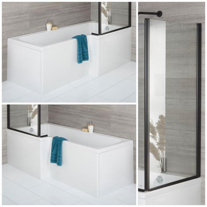 Douchebad Wit Vierkant met Zwarte Badwand en Voorpaneel 170cm x 85cm  Links- of Rechtshandige Opties   Sandford