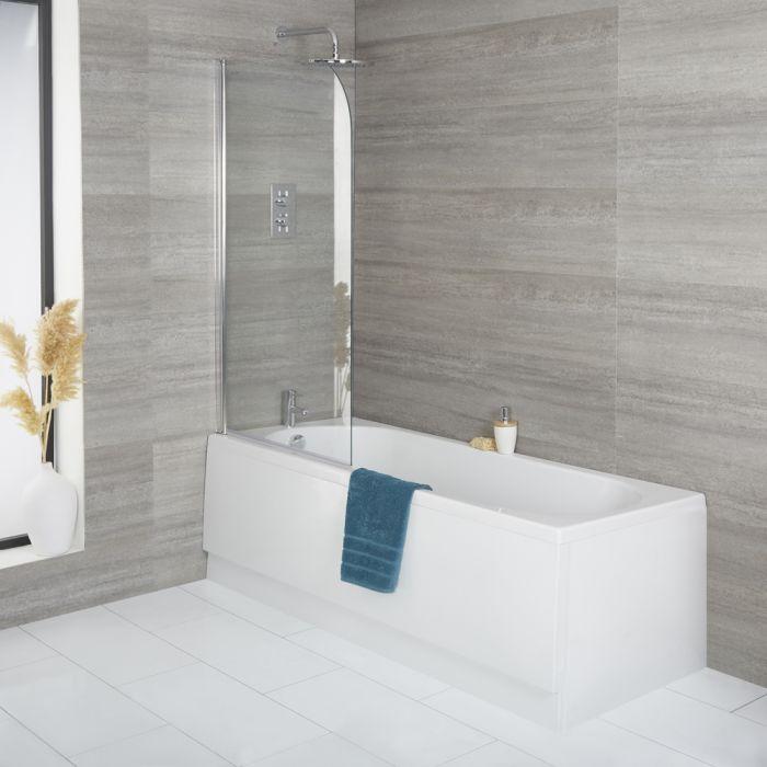 Ligbad met Badwand en Voorpaneel Wit | Kies de Afmeting | Covelly