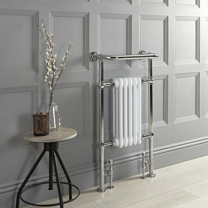 Handdoekradiator Klassiek met Overhangend Handdoekrek 96,5cm x 54cm 457 Watts Wit/Chroom | Elizabeth