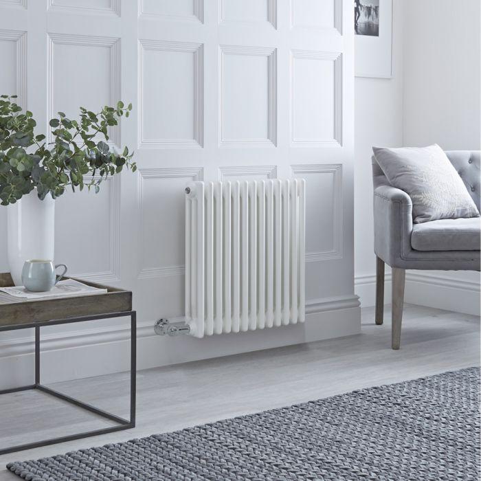 Designradiator Elektrisch Horizontaal 3 Kolommen Klassiek Wit 60 x 60,5cm   Keuze WiFi-Thermostaat   Windsor