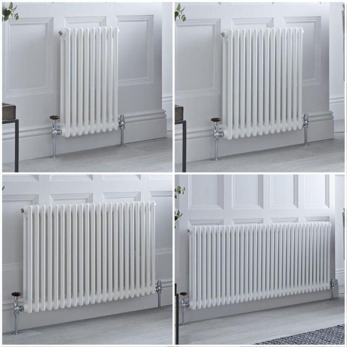 Kolomradiator Horizontaal 2-Kolommen Klassiek Wit | Keuze van Afmetingen en Poten | Windsor