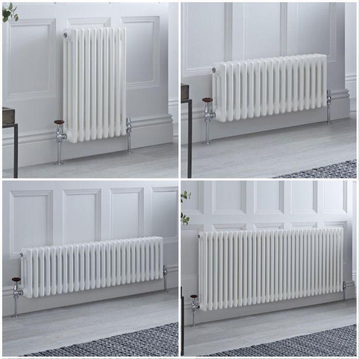 Kolomradiator Horizontaal 3-Kolommen Klassiek Wit | Keuze van Afmetingen en Poten | Windsor