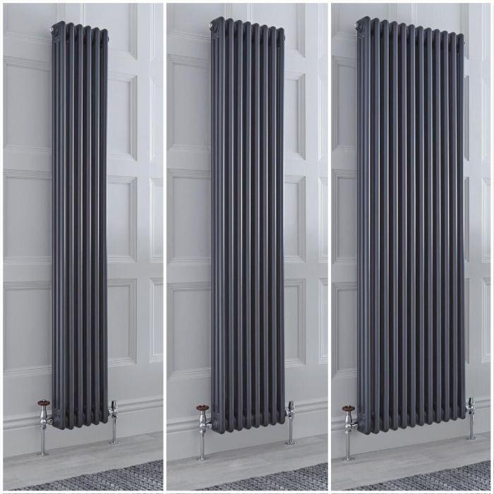 Kolomradiator Verticaal 3-Kolommen Klassiek Antraciet | Keuze van Afmetingen en Poten | Windsor