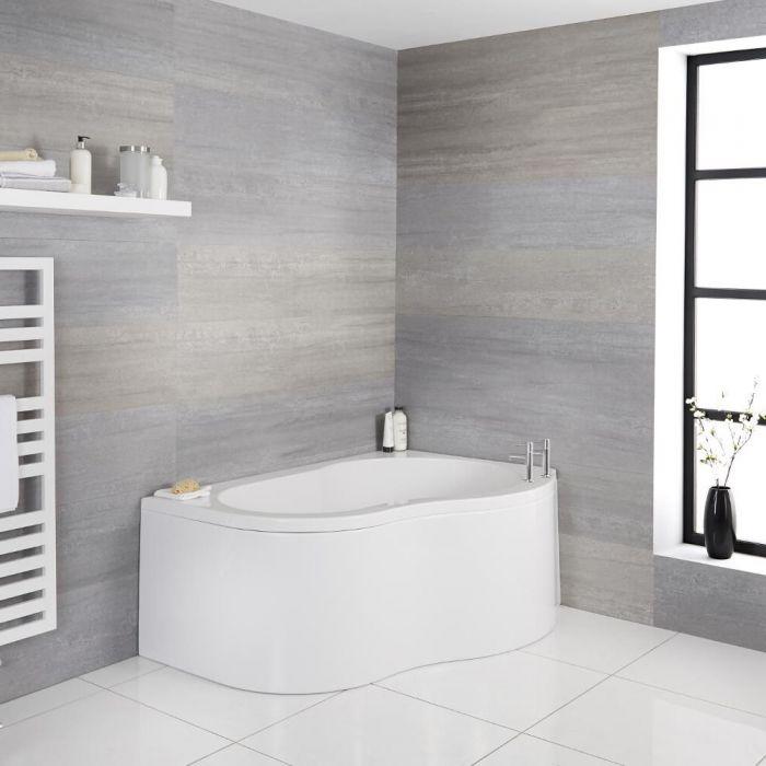 Hoekbad Rechter Uitvoering 150cm x 100cm met Badpaneel Wit | Ashbury