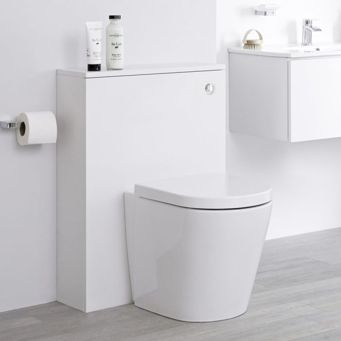 Toilet Staand Keramisch Wit met Stortbak en Ombouw Wit | Newington