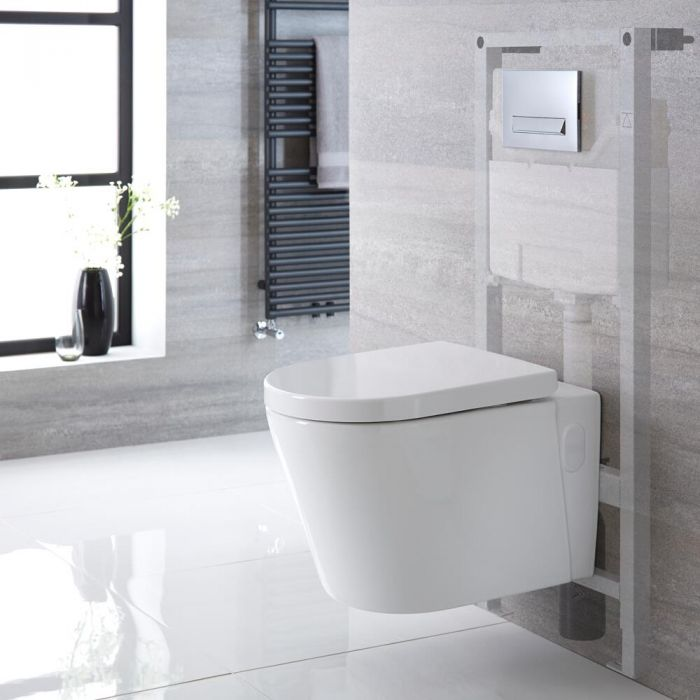 Exton Toilet Hangend Keramiek Ovaal Wit Incl. Inbouwreservoir  Large