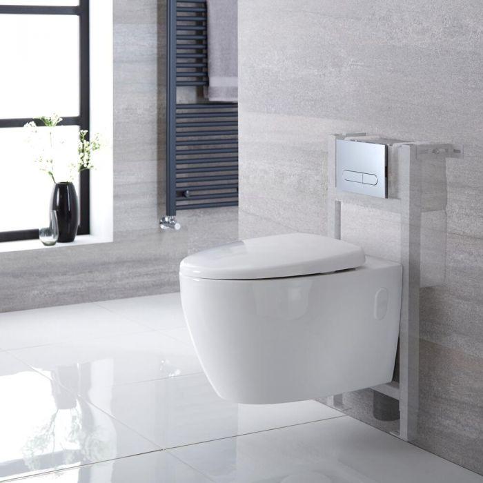Kenton Hangend Keramiek Toilet incl Inbouwreservoir (Small) en Keuze Spoelknop